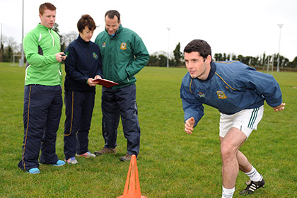 Ruairi Murphy (Meath LSP), Mary Murphy (Meath LSP), Mick O'Dowd (Meath manager) and team captain Donal Keoghan.