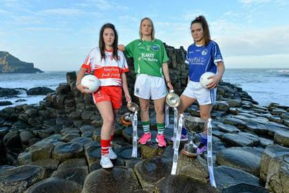At the Giants Causeway for the 2015 TESCO Homegrown National Football League launch are, l/r: Shannon McCrystal (Derry), Edel Campbell (Fermanagh) and Aoibhinn Kiernan (Cavan). ©Brendan Moran/SPORTSFILE