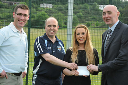 Michael Hegarty U-12 Mgr, Gerry Quinn U12 Mgr, Christine Dolan Manager Quayside SC and Fergal Kelly Juvenile Chairman St.Johns.
