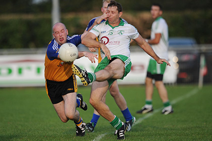 St Patrick's Cormac Murphy is under pressure during the JFC C replay at Kilbride.