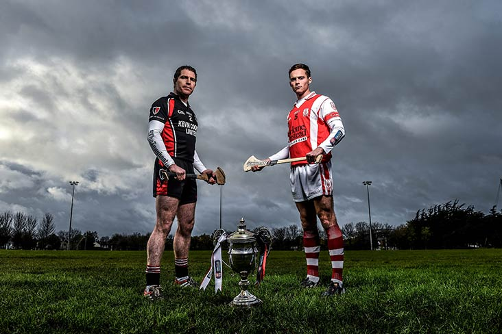 Cuala's Darragh O'Connell is pictured alongside Paul Roche from Oulart the Ballagh ahead of the AIB GAA Leinster Senior Hurling Club Championship Final
