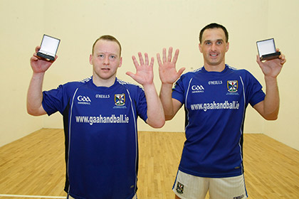 Cavan's Paul Brady and Michael Finnegan following their victory.