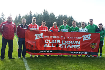 Officials and Players from Aughlisnafin GAC and Mitchels GAC join forces to promote the OReilly Transport Club Down Allstars.