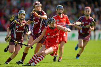 Cork's Gemma O'Connor gets away from Aislinn Connolly of Galway during the All Ireland Senior Camogie semi final at Nowlan Park