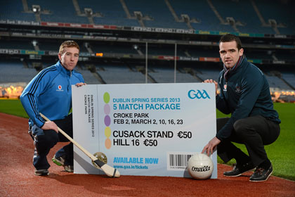 At the launch of the Dublin Spring Series as part of the Allianz National Leagues are Dublin footballer Ger Brennan and Dublin hurler John McCaffrey.