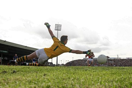 Mayo&#39;s Cillian O&#39;Connor scores a penalty past Kerry goalkeeper Brian Kelly<br />&#169;INPHO