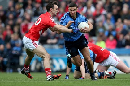 Kevin O&#39;Driscoll of Cork with James McCarthy of Dublin<br />&#169;INPHO