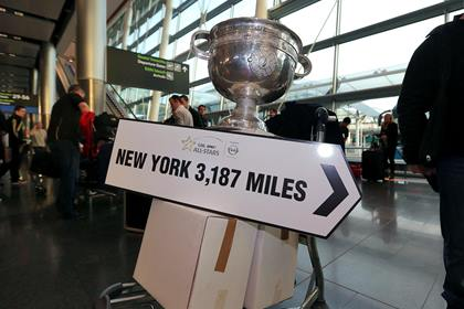 Sam Maguire in Dublin Airport preparing for an All Star tour ©INPHO/Lorraine O'Sullivan