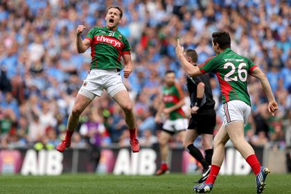 Mayo&#39;s Andy Moran celebrates scoring the equalising the point to force a replay <br />&#169;INPHO