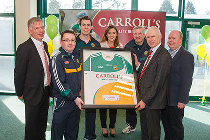 Pictured at the announcement of Carroll's Ham extension of their sponsorship of Offaly GAA and the launch of the new Carroll's Ham Offaly GAA jersey were l to r; Offaly GAA Chairperson Padraig Boland, Offaly senior football manager Emmet McDonnell, Offaly senior football team captain Niall McNamee, Carroll's Ham Marketing Manager Deirdre O'Neill, Offaly GAA secretary Tommy Byrne, Carroll's Ham Managing Director John Comerford and Offaly GAA PRO Alan Walsh.