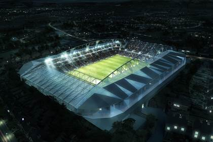 An artist's impression of the night time view of the new Casement Park