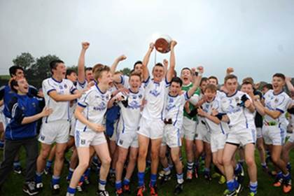 Cavan celebrate the Gerry Reilly Cup final victory over Dublin at Millbrook, Oldcastle.