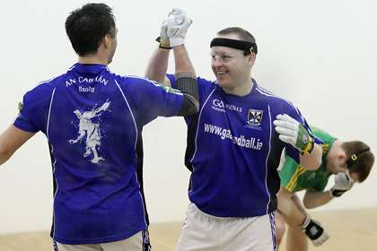 Cavan's Paul Brady and Michael Finnegan celebrate