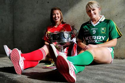 Rena Buckley of Cork with Bernie Breen of Kerry ahead of the All-Ireland ladies senior final ©INPHO/Lorraine O'Sullivan