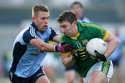 Kerry's James O'Donoghue has his path blocked by Jonny Cooper of Dublin ©INPHO/Ryan Byrne