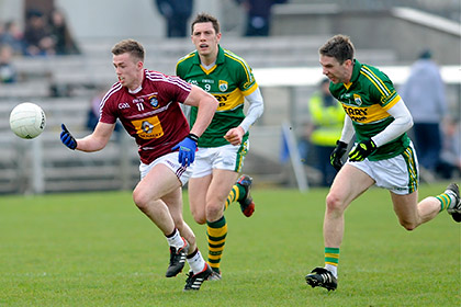 Westmeath's Ger Egan with Kerry's Marc O'Se during the NFL Division 1 game at Cusack Park. Photo courtesy of Daniel Boyce Photography