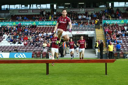 Finian Hanley leads out Galway for their SFC Qualifier match with Tipperary at Pearse Stadium.<br />&#169;INPHO/Mike Shaughnessy.