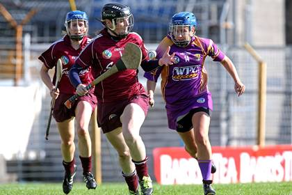 Galway goalkeeper Susan Earner and Fiona Rochford of Wexford during the All-Ireland camogie semi-final ©INPHO/Ryan Byrne