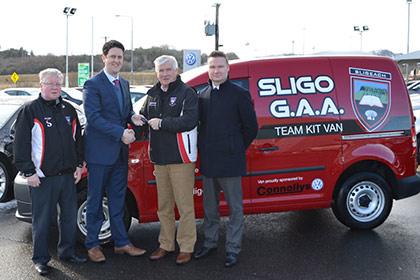 At the launch were John McPartland Sligo kit manager, Neil Connolly Connolly Group, Peter Greene Sligo Treasurer and Stephen Kearns Connolly Group