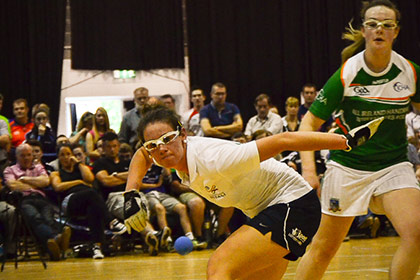 Action from the MacSports Handball Womens Open Final between Limerick's Martina McMahon and Down's Lorraine Havern.