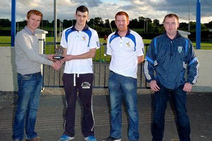 Adam O'Reilly (Cuchullains) received his Player of The Week trophy from Thomas Brady of Sheridan Insurances. Picture below (left to right) is Thomas Brady (Sheridan Insurances), Adam O'Reilly, Patrick Murtagh (Manager of the Week - Cuchullains) and Dermot O'Reilly, Munterconnaught and Chairman of The Breffni All Stars.