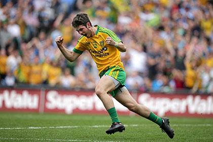 Donegal's Ryan McHugh celebrates scoring a goal against Dublin. INPHO