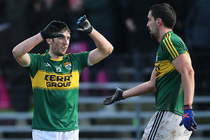 Killian Young and Anthony Maher celebrate Kerry's win over Dublin. INPHO