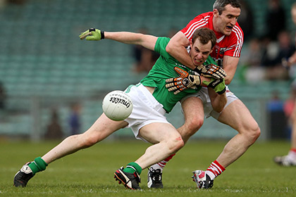 Limerick's Seanie Buckley and Graham Canty of Cork. INPHO