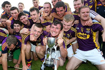 Wexford players celebrate with the Leinster U21HC cup at Parnell Park. INPHO