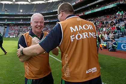 Limerick Manager Joe Quaid celebrates at the final whistle. INPHO