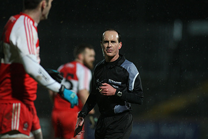 Referee David Coldrick during the Derry versus Tyrone NFL clash at Omagh. INPHO