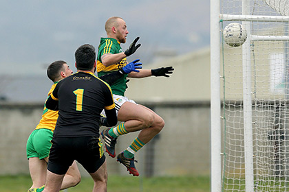 Kerry's Barry John Keane scores a goal against Donegal at Austin Stack Park. INPHO