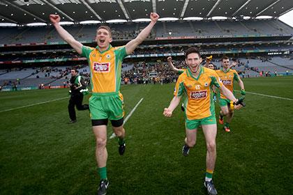 Kieran Fitzgerald and Martin Farragher celebrate Corofin's All Ireland Club Final win over Slaughtneil. INPHO