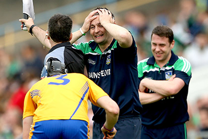 Limeirck's manager TJ Ryan reacts to the win over Clare. INPHO