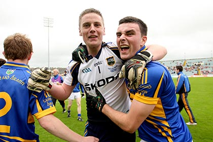 Goalkeeper Evan Comerford and Tom Kirwan celebrate Tipps 2012 Munster MFC final win over Kerry