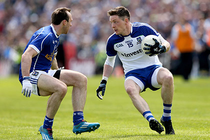 Cavan's Fergal Flanagan and Conor McManus of Monaghan during the Ulster SFC clash at Breffni Park. INPHO