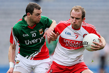 Derry's Sean Leo McGoldrick and Keith Higgins of Mayo. INPHO