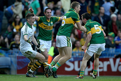 Brian Kelly, Declan O'Sullivan, Peter Crowley and Paul Murphy of Kerry celebrate at the end of the game. INPHO