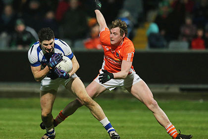 Laois' Brendan Quigley and Kieran Toner of Armagh during the NFL Division 2 game at O'Moore Park. INPHO