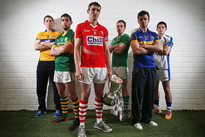 At the launch of 2013 Munster Senior Hurling and Football Championshipswere from  (L-R) Clare captain Gary Brennan, Kerry's Killian Young, Cork captain Graham Canty, Limerick captain Seanie Buckley, Tipperary captain Paddy Codd and Waterford's Tony Grey. INPHO