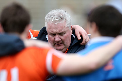 A dejected Paul Grimley after the defeat to Cavan. INPHO