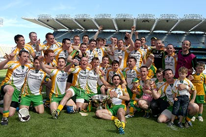 Donegal celebrate their Rackard Cup success at Croke Park. INPHO