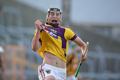 Wexford's Conor McDonald celebrates a goal in extra time in the Leinster U21 hurling decider.