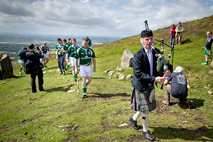A piper leads the competitors at the start of the Poc Fada. INPHO