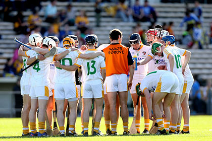 Antrim huddle before the 2013 All Ireland U21 hurling decider against Clare. INPHO