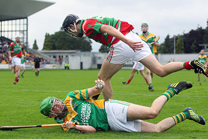 Birr's Rory Hanniffy and Ciaran Slevin of Kilcormac/Killoughey during the Offaly SHC decider at O'Connor Park. INPHO