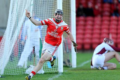 Loughgiel's Eddie McCloskey celebrates scoring. INPHO