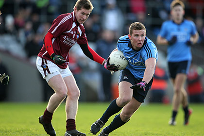 Westmeath's Gavin Hoey and Ciaran Kilkenny of Dublin during the O'Byrne Cup game at Cusack Park. INPHO