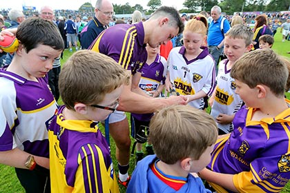Wexford's Lee Chin signs autographs for supporters after the win over Clare. INPHO