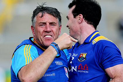 Longford manager Jack Sheedy with Paul Barden after the win over Derry in Celtic Park. INPHO